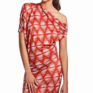 BCBGMaxAzria Orange Mini Dress One Shoulder SizeXS